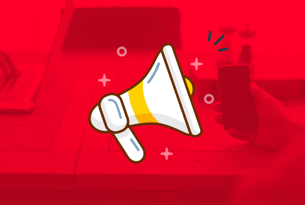 Social Media. A red background with a cartoon Image of a microphone in the centre