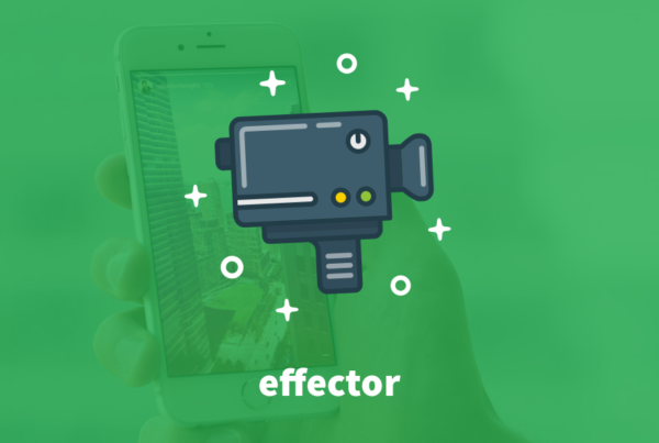 "Instagram Stories - The Power of Storytelling. A grene background with an icon of a grey video camera in the centre of the image. Below it is the Effector Logo in white writing that reads ""Effector""."