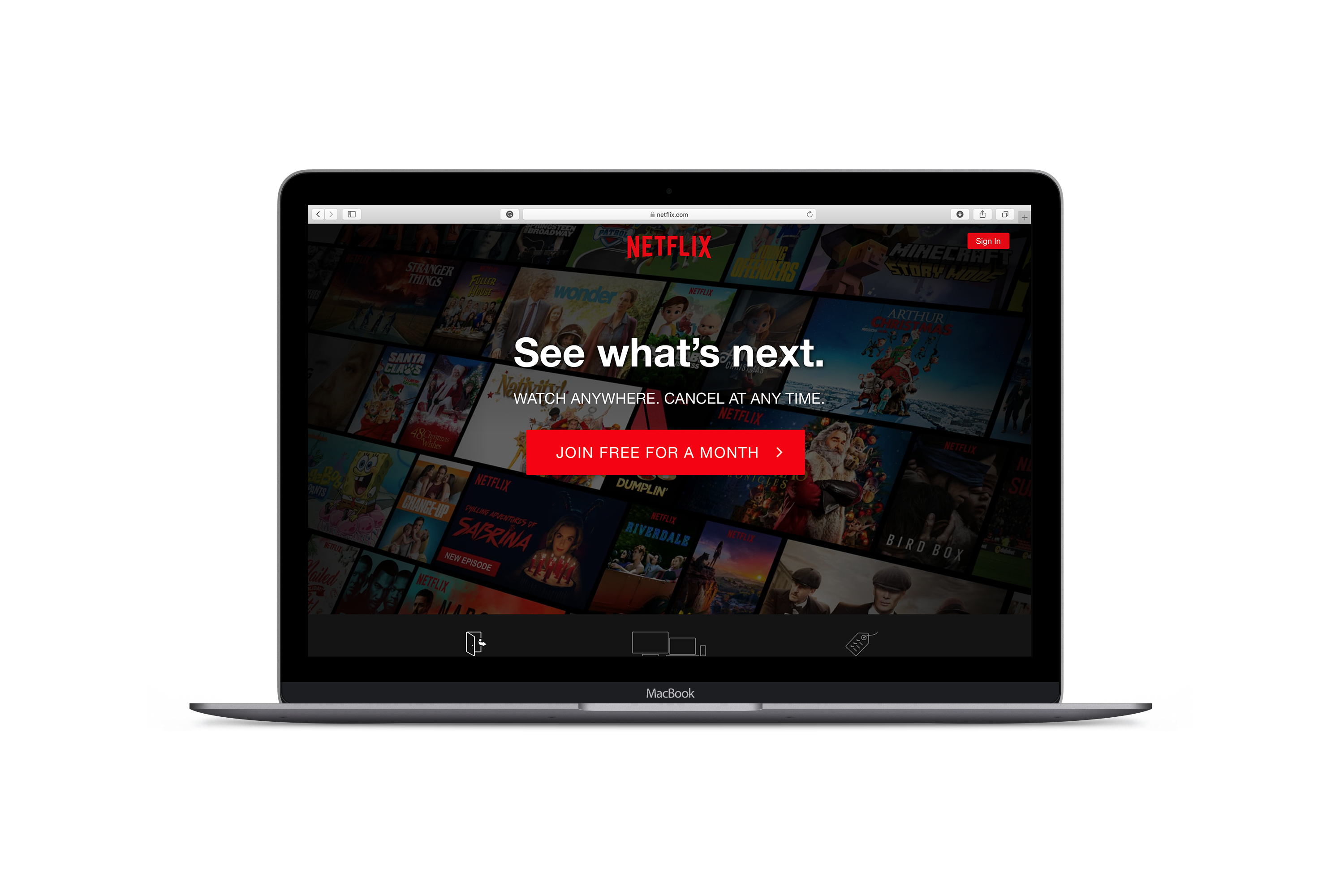 "An MacBook Pro opened and turned on. On screen is an image of the Netflix home screen with a clear read button that says ""Join Free For A Month"""