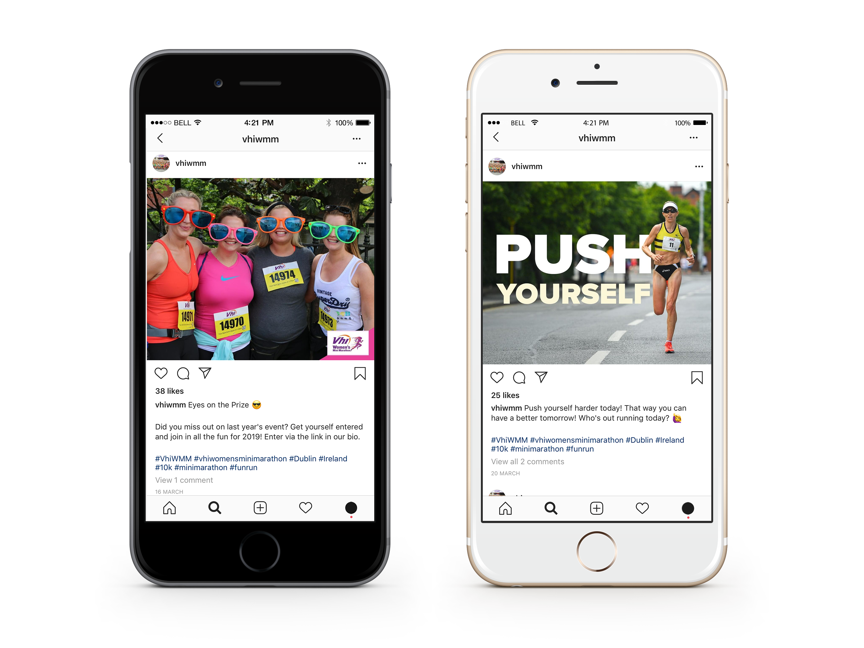 Race event Marketing: The Ultimate Guide. An image of two iPhone 8's side by side. The iPhone on the left has Instagram open with an image of 4 women wearingoversized sunglasses after completing a race event