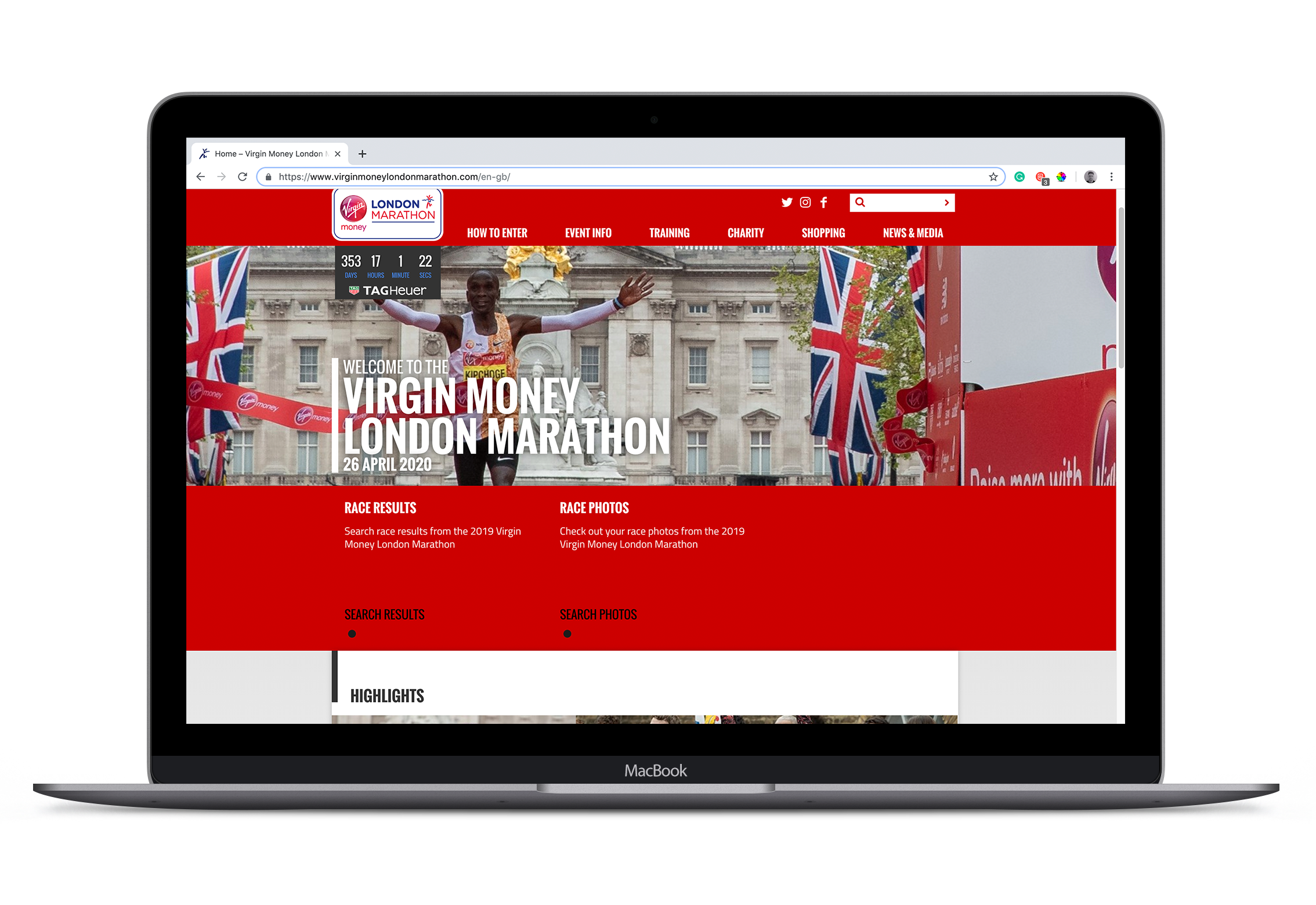 Race Event Marketing. The ultimate guide. An image of a Macbook pro with the london marathon website open to showcase a clean website with good CTA above the fold