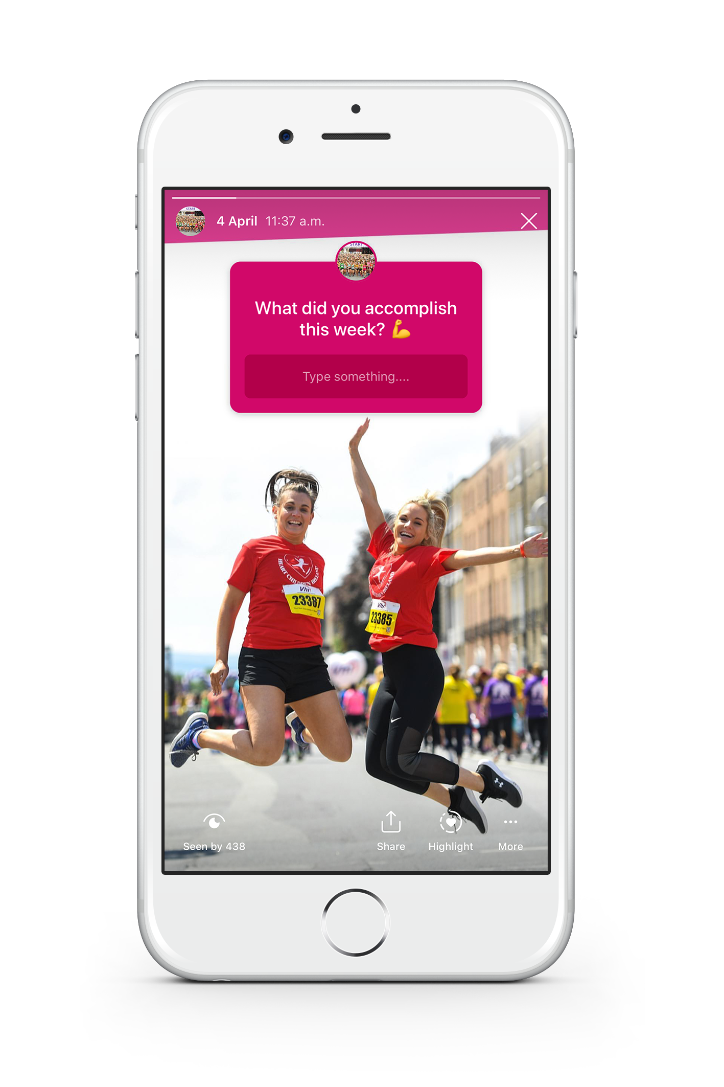 Race Event Marketing: The Ultimate Guide. An image of a white iPhone 8 with a screenshot of an Instagram story. In the foreground of the image is two girls jumping in the air in excitement after completing the marathon. The background has an instagram question box asking